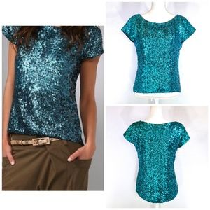 {ALICE+OLIVIA} Blue Sequin Silk Short Sleeve Top